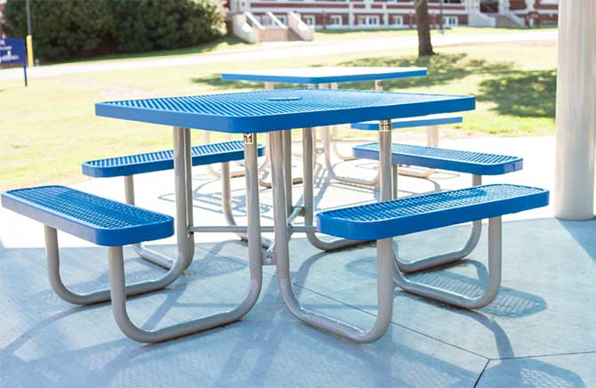 Blue Picnic Tables in a park setting by Kraftsman