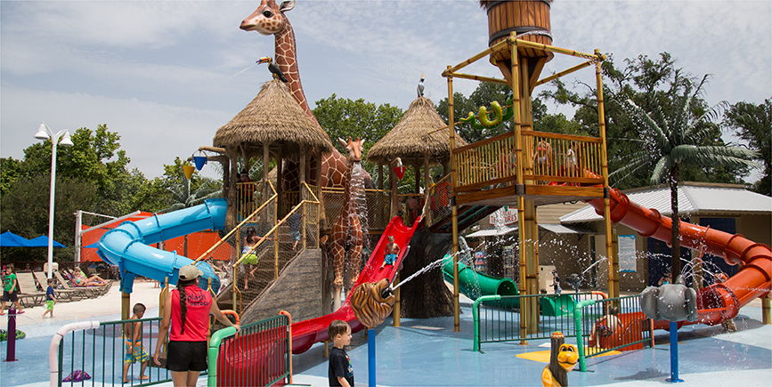 Safari or zoo Themed Water Play structure at a water park designed and built by Kraftsman