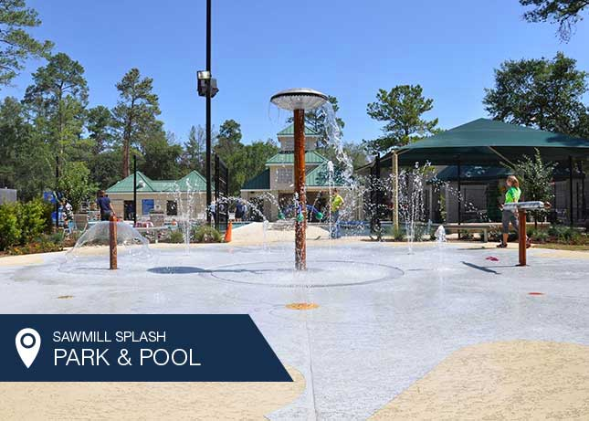 A sunny day at the Sawmill Splash Park by Kraftsman in The Woodlands, TX