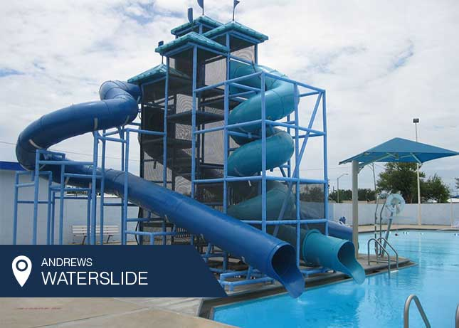 Giant Commercial Water Slide by Kraftsman at the revitalized Andrews, TX public pool