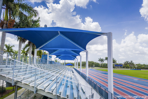 Covered bleachers at field