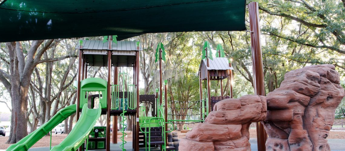 Shade structure over playground